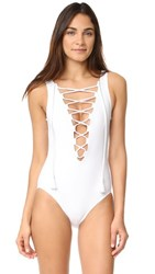 Karla Colletto Entwined Plunge Neck Tank One Piece White