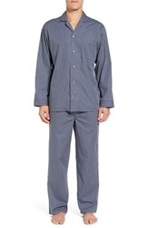 Nordstrom Men's Big And Tall Men's Shop Poplin Pajama Set Blue Red Micro Box Check