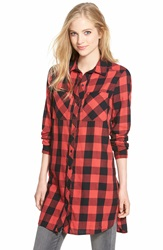 Caslon 2 Pocket Tunic Shirt Regular And Petite Red Beauty Buffalo Plaid