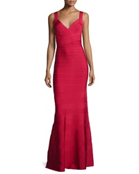 Herve Leger Deep V Neck Bandage Gown Red