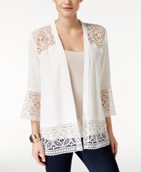 Ny Collection Petite Open Front Lace Cardigan Ivory Temple