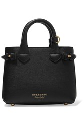 Burberry Textured Leather And Checked Canvas Tote Black