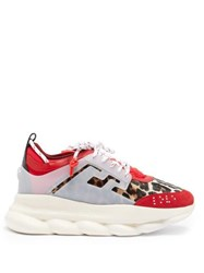 Versace Chain Reaction Calf Hair Trainers Red Multi