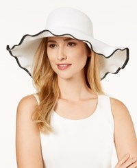 Nine West Packable Ruffle Floppy Sun Hat White