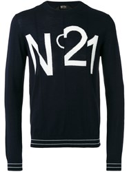 N 21 No21 Logo Print Sweatshirt Blue