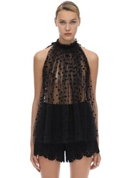N 21 Sleeveless Embroidered Tulle Top Black