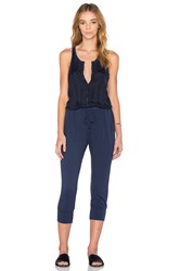 Stateside Button Front Jumpsuit Navy