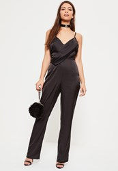 Missguided Black Strappy Satin Wrap Jumpsuit