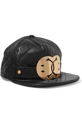 Moschino Embellished Quilted Leather Cap Gray
