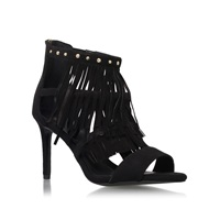 Kurt Geiger Iggie High Heel Fringe Detail Shoe Boots Black