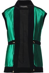 Balmain Cotton Velvet Paneled Plisse Satin Gilet Green