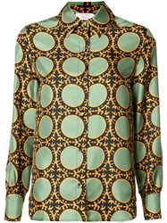 La Double J Circle Print Shirt Green