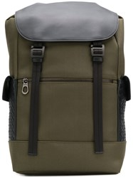 Bottega Veneta Intrecciato Panel Backpack Green