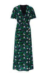 Saloni Josee V Neck Maxi Dress Floral
