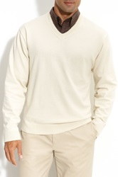 Cutter And Buck 'Meridian' V Neck Sweater White