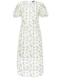Markus Lupfer Floral Embroidered Sheer Dress White