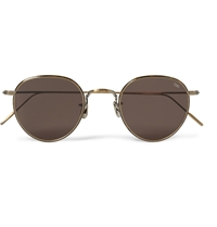 Eyevan 7285 Round Frame Metal Sunglasses Brown
