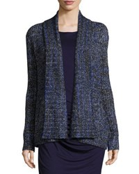 Three Dots Long Sleeve Open Front Tweed Cardigan Blue Pattern
