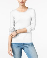 Charter Club Pima Cotton Long Sleeve Top Bright White