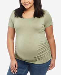 Jessica Simpson Maternity Plus Size Ruched T Shirt Green Olive
