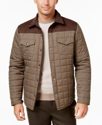 Tasso Elba Quilted Colorblocked Jacket Only At Macy's Brown Combo