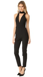 Michelle Mason Choker Plunge Neck Jumpsuit Black