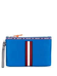 Bally Stripe Trim Clutch Blue