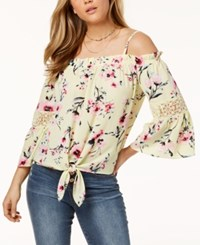 Amy Byer Bcx Juniors' Printed Cold Shoulder Top Yellow Floral