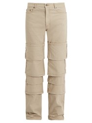 Y Project Mid Rise Tiered Fold Up Cotton Twill Jeans Beige