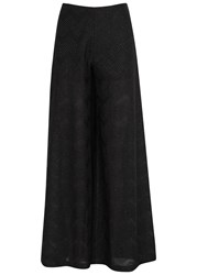 M Missoni Black Wide Leg Fine Knit Trousers
