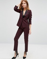 Millie Mackintosh High Waisted Cigarette Trousers Burgundy Red