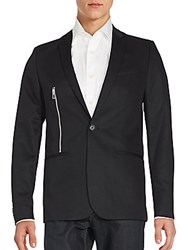 Calvin Klein Solid One Button Zipper Blazer Black