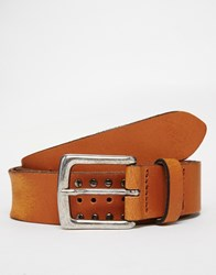 Asos Leather Belt In Tan With Vintage Style Studding Tan