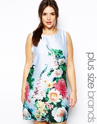 Truly You Sleevelesss Printed Shift Dress Blueprint