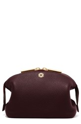 Dagne Dover Large Lola Leather Cosmetics Pouch Oxblood