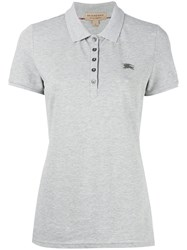 Burberry Embroidered Logo Polo Shirt Grey