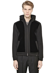 Emporio Armani Flocked Front Wool Milano Knit Jacket Black