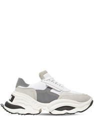 Dsquared The Giant Hike Chunky Leather Sneakers White Silver