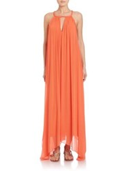Alice Olivia Jaelyn Braid Neck Halter Dress Tangerine
