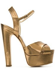 Brian Atwood Platform Sole Sandals Metallic