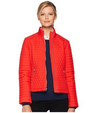 Marc New York By Andrew Linden Honeycomb Mini Quilted Scuba Jacket Red Coat