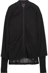 Koral Veneer Dual Layered Mesh Paneled Stretch Modal And Cotton Blend Top Black