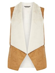 Dorothy Perkins Zip Shearling Gilet Brown