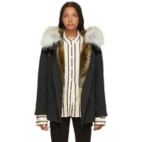 Yves Salomon Army Black Classic Short Fur Lined Parka