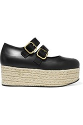 Marni Leather Espadrille Platform Pumps Black