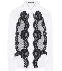 Dolce And Gabbana Lace Embellished Cotton Shirt White
