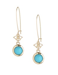 T And C Theodora And Callum Modern Nomad Teal And Gold Tone Drop Earrings Blue