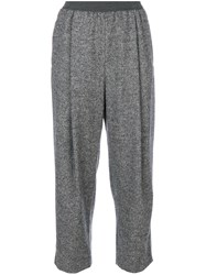 Agnona Front Pleat Cropped Trousers Silk Cotton Polyamide Lambs Wool Grey