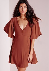 Missguided V Neck Frill Sleeve Skater Dress Rust Brown