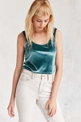 Silence And Noise Emily Velvet Crop Tank Blue